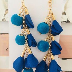 Jewelry - ❣️$5 for $25❣️Felt Ball & Petal Drop Earrings-Blue